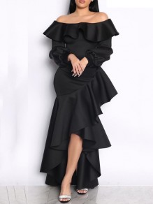Black Ruffle Off Shoulder Irregular Bodycon Long Sleeve s Party Maxi Dress