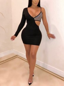 Black Patchwork Sequin Cut Out Spaghetti Strap Bodycon Sparkly Glitter Party Mini Dress