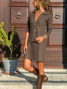 Khaki Draped V-neck Long Sleeve Fashion Mini Dress
