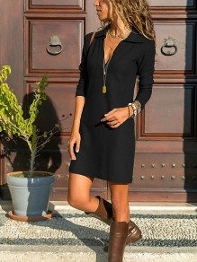 Black Draped V-neck Long Sleeve Fashion Casual Mini Dress