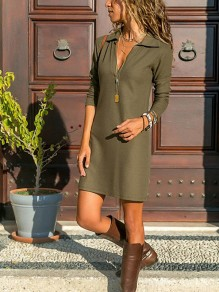 Army Green Draped V-neck Long Sleeve Fashion Mini Dress