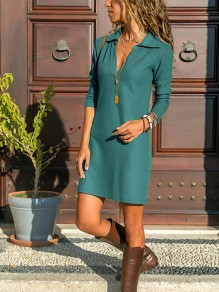 Green Draped V-neck Long Sleeve Fashion Casual Work Mini Dress