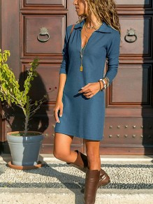 Sky Blue Draped V-neck Long Sleeve Fashion Mini Dress