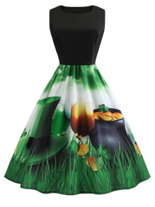 Green Flowers Round Neck Sleeveless Patrick's Day Party Midi Dress