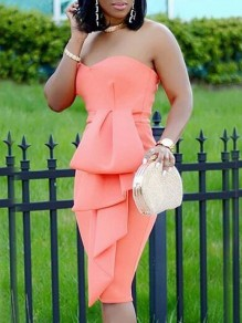 Pink Bandeau Ruffle Sleeveless Backless Cocktail Party Midi Dress