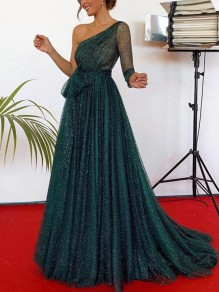 Green Sashes One Shoulder Long Sleeve Backless Sparkly Maxi Dress