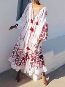 White-Red Floral Embroidery Deep V-neck Lantern Sleeve Mexican Vintage Maxi Dress