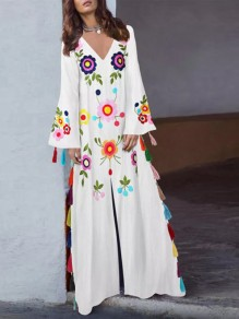 b4c613b338d White Floral Embroidery Tassel Slit Mexican Bohemian Vintage Maxi Dress