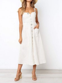 White Buttons Bodycon V-neck Going out Maxi Dress
