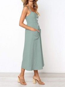 Light Green Buttons Bodycon V-neck Going out Maxi Dress