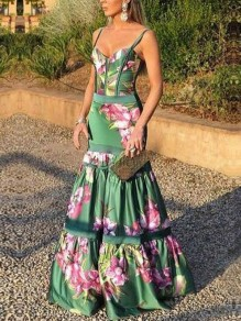 Green Floral Pleated Spaghetti Strap V-neck Elegant Prom Evening Party Maxi Dress