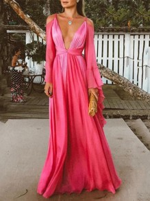 Rose Carmine Pleated Deep V-neck Bell Sleeve Elegant Prom Evening Party Maxi Dress