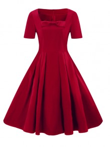Burgundy Pleated Bow Plus Size Elegant Cocktail Party Midi Dress