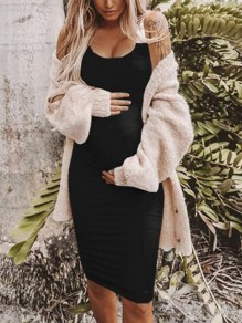 Black Pleated Deep V-neck Spaghetti Strap Bodycon Maternity Midi Dress