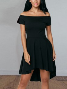 Black Irregular Swallowtail Draped Pleated Boat Neck Short Sleeve Elegant Midi Dress