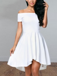 White Irregular Swallowtail Draped Pleated Boat Neck Short Sleeve Elegant Midi Dress