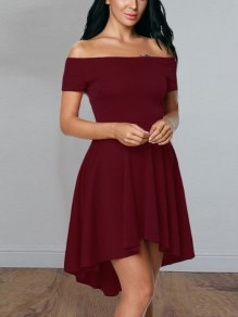Wine Red Irregular Swallowtail Draped Pleated Boat Neck Short Sleeve Elegant Midi Dress