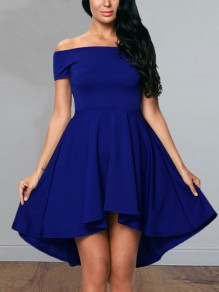 Blue Irregular Swallowtail Draped Pleated Boat Neck Short Sleeve Elegant Midi Dress