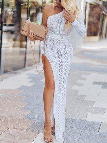 White Crochet Asymmetric Shoulder Irregular Slit Long Sleeve Beachwear Fashion Maxi Dress