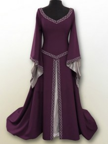 Purple Embroidery V-neck Long Sleeve Classic Festival Maxi Dress