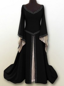 Black Embroidery V-neck Long Sleeve Classic Festival Maxi Dress