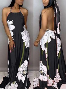 Black Floral Halter Neck Pleated Backless Bohemian Beachwear Maxi Dress