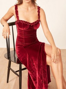 Burgundy Shoulder-Strap Thigh High Side Slits V-neck Sweet Prom Evening Party Maxi Dress