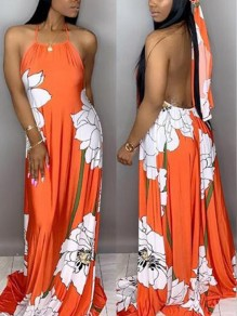Orange Floral Draped Halter Neck Backless Flowy Beach Bohemian Maxi Dress