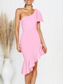 Pink Asymmetric Shoulder Ruffle Irregular Bow Bodycon Elegant Prom Evening Party Midi Dress