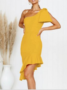 Yellow Asymmetric Shoulder Ruffle Irregular Bow Bodycon Elegant Prom Evening Party Midi Dress