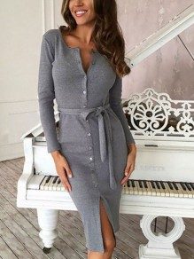 Grey Buttons Bodycon Long Sleeve V-neck Streetwear Midi Dress