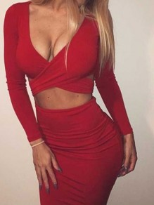Red Cut Out Solid Wrap Knee Length V-neck Cocktail Party Bodycon Skater Two-Piece Dress