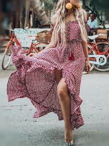 Red Polka Dot Irregular Ruffle Off Shoulder High-low Gypsy Flowy Bohemian Maxi Dress
