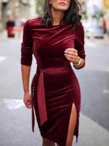 Dark Red Sashes Slit Long Sleeve Pleuche Cocktail Party Midi Dress