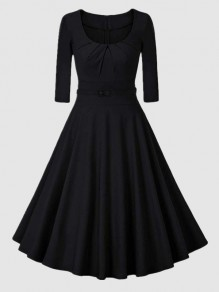 Black Belt Pleated Round Neck 3/4 Sleeve Vintage Midi Dress