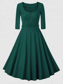 Green Belt Pleated Round Neck 3/4 Sleeve Vintage Midi Dress