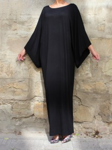 Black Solid One Piece Loose Ankle Length Round Neck Long Sleeve Elegant Prom Maxi Dress