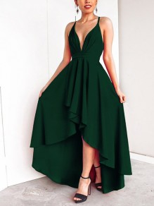 Green Condole Belt Draped Swallowtail Irregular Cross Back Tie Back Backless Plunging Neckline Sleeveless Elegant Maxi Dress