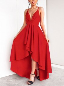 Red Condole Belt Draped Swallowtail Irregular Cross Back Tie Back Backless Plunging Neckline Sleeveless Elegant Maxi Dress