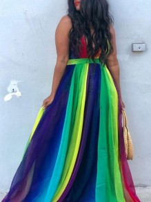 Green Striped Rainbow Gradient Color Draped Spaghetti Strap Jamaica Flowy Bohemian Beach Maxi Dress