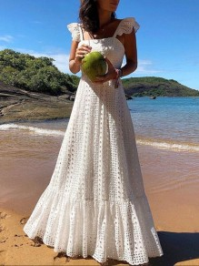 White Lace Ruffle Pleated Bohemian Boho Beachwear Maxi Dress