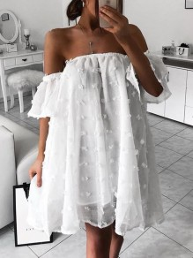 White Polka Dot Draped Off Shoulder Oversized Midi Dress