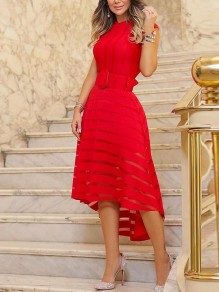 Red Striped Irregular Swallowtail Grenadine Draped Belt Round Neck Short Sleeve Elegant Midi Dress