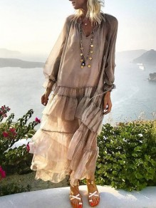 Brown Patchwork Ruffle V-neck Bohemian Maxi Dress