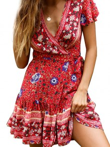 Red Floral Sashes Wrap High Waisted V-neck Flowy Big Swing Beach Mini Dress