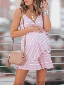 Pink Striped Sashes Belt Patchwork V-neck Spaghetti Strap Sweet Maternity Dress