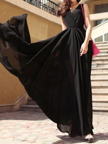 Black Draped Condole Belt Irregular Pleated Backless V-neck Sleeveless Elegant Maxi Dress