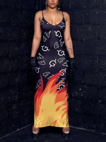 Black Flame Pattern Spaghetti Strap Bodycon V-neck Party Maxi Dress