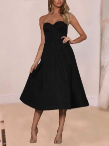 Black Off Shoulder Pockets Pleated Backless Tutu Party Maxi Dress