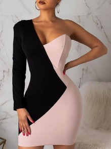 Black-Pink Color Block Asymmetric Shoulder Bodycon Long Sleeve Prom Party Mini Dress